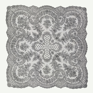 Square mantilla of black Chantilly lace with a cross in the center and a design of floral swags forming a deeply scalloped innter border; bunches of flowers are placed within each scallop.