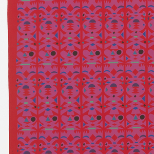 Length of printed cotton with an all-over pattern resembling  an abstract  paper cut-out . Printed in purple, blue, green and black on red.
