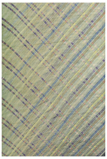 "Long sari fabric of very fine cotton in a diagonal ""plaid"" created by twisting, wrapping, and space-dyeing the fabric."