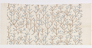 "Vertically arranged stylized trees with brown stalks and blue leaves. Repeat is 17 1/2"" or 44.5 cm. Both selvedges are present, both ends are cut."