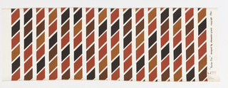 Vertical columns of regular parpllelagrams printed in 4 shades of brown/red on white ground.