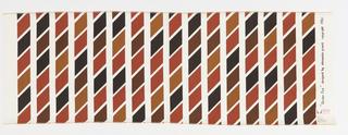 Vertical columns of regular parpllelagrams printed in 4 shades of brown/red on white ground.