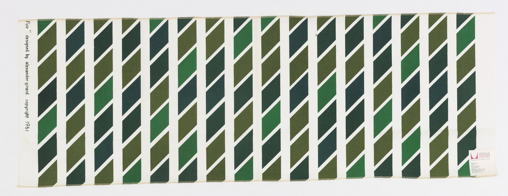 Vertical columns of regular parallelograms printed in four shades of green on white.
