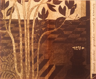 The mural examines the contrast between man and nature where geometric architectural patterns confine the landscape, as leaves move freely in the wind. Cover illustration shows detail of a tree in front of steps and parquet or checkerboard-patterned flooring. Cover detail is printed in actual size, texture and one of the available colorways. Inside shows miniature of the full set of panels with dimensions, available colorways, and suggestions for wall arrangements. Printed in dark sepia on white paper.