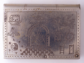 """In the form of a book, featuring incised decoration of various Masonic symbols, including a compass enclosed in an archway at center and dove at upper right corner. Reverse features array of other Masonic symbols. Top panel curved like a book spine, """"Hugh Borland"""" inscribed on bottom panel, """"No. 406"""" inscribed on right panel, which also serves as lid, hinged on pin at lower right. Striker on left panel."""