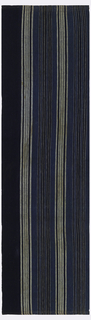 Narrow rectangular fabric, hemmed at both ends with red stitching, striped in white and two shades of indigo.