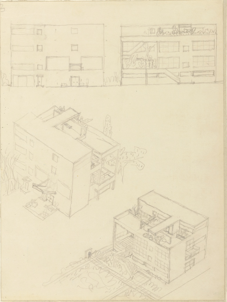 Four drawings for Villa Stein-de Monzie, at Garches, France: facade elevation view at upper left, rear elevation view at upper right, facade aerial perspective at center, left, rear aerial perspective at lower, right.