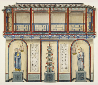 Elevation of a wall, with a central niche containing a porcelain pagoda mounted on a pedestal. This is flanked with two niches containing Chinese figures in costume. Tablets with Chinese characters on piers between niches. A balcony with trelliswork design above.
