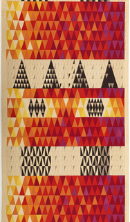Length of printed cotton with a ground of narrow bands of triangles varying in tone from pale yellow to deep red to violet, but predominantly orange. Interrupted by deep bands of white with black and gray triangles, forming larger triangles, squares and diamonds.