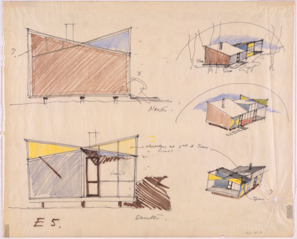 Two side elevations (left) and three perspective views (right) of different variations of the architect's studio building.