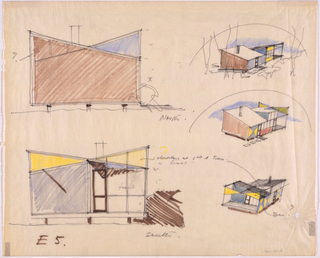 Two side elevations (left) and three perspective views (right) of different variations on building.