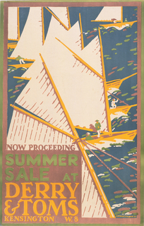 Poster advertisement design for Derry & Tom's summer sales. Image shows sailing sailboats, with text at lower left with pink, green, yellow, blue, and white: NOW PROCEEDING / SUMMER / SALE AT / DERRY & TOMS / KENSINGTON W.8.
