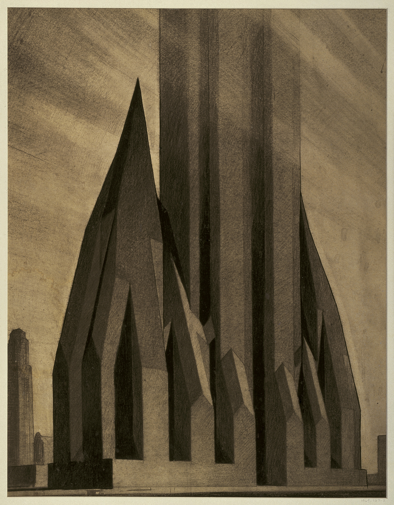 Futuristic rendering of dark, monumental complex of high-rise structures on a plinth-like base.  The central building extends vertically and is cut off by edge of sheet.  Flanking the central structure, two symmetrical towers whose sloping sides end in steep and sharp points.  Tall and narrow vertical buttresses along the facades repeat the upward thrust of the structures.  Another skyscraper building is seen in the left distance.  Rays of light emanating from the right distance and backlighting left side of the building complex emphasize the visual drama.