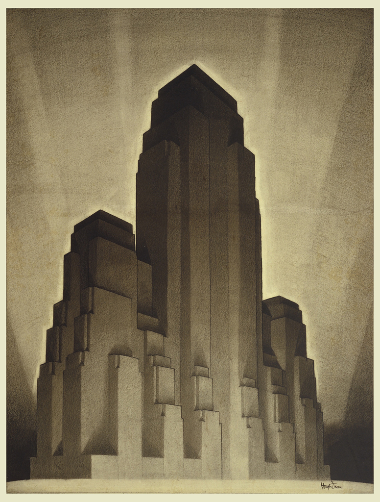 "Rendering of very dark, monumental high-rise building consisting of tall set back central tower, flanked by two smaller towers, each with set back upper stories. Dramatic ""fan"" of light rays in background.  This is an early proposal for the set back skyscraper form that was to characterize many skyscrapers built from the mid-1920s to the ca. 1950s."