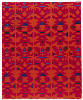Totemic shapes cut from red, blue, green, brown, and purple tissue paper mounted on a painted orange background.