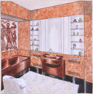 Design for bathroom interior for the Frederick B. Patterson apartment at 435 East 52nd Street, New York, NY. Interior perspective shows built-in brown tub at left below exoticized figurative artwork (or painted tile?) and soffit with tubular lighting. Perpendicular, brown sink with streamlined pedestal situated between two towel rods (with warmers?) below mirror with glass shelving and recess just behind sink. Floor is black-brown and covered with white shag rug; a low white vanity stool positioned at lower left. Brown marble walls.
