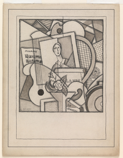 Cubist composition of overlapping forms including, in the center, a framed picture of a woman holding a rose and surrounded by sheet music headed, in upper case, Mammy; on the left, a guitar; on the right, a tennis racket and architectural drawing (?); below, two books titled La Vie and La Jeunesse, both in upper case.