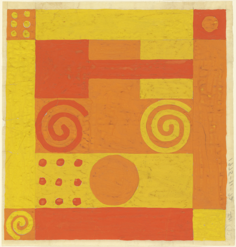 Square format. Square and rectangular geometric designs in yellow, light and darker orange; accented with dots and spirals.