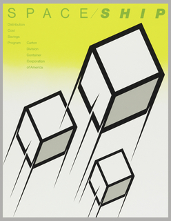 Poster features three white cubes with black borders with speed lines. Background is yellow above and white below. Text is green: SPACE/SHIP; Distribution / Cost / Savings / Program Carton / Division / Container / Corporation / of America.