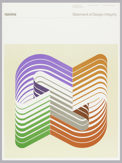 On a cream ground, a figure 8 made up of several lines in purple, orange, red, and green. Above in light gray text: NORAND; Statement of Design Integrity; Norand Corporation / 550 Second Street, S.E. / Cedar Rapids, Iowa 52401; Artform by James Potocki ©1978 . Norand Corporation.