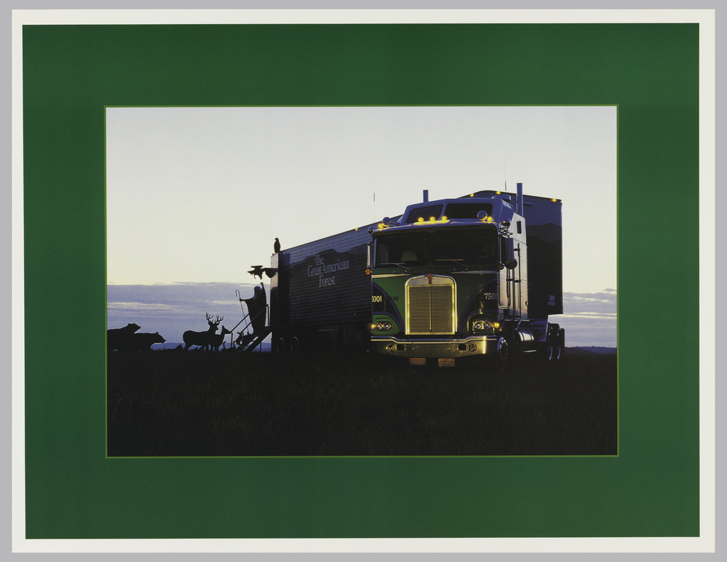Photograph of a semi-truck with the container labeled: The Great American Forest. From the container a stairs with a bearded man holding a shepherd's staff and one arm up (Noah-like); silhouettes of two birds, two deer, and two bears approaching the stairs. All this framed with green border.