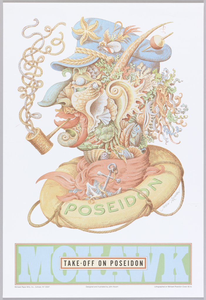 Poster on white ground featuring an image of a head in profile composed completely by marine life and paraphernalia. The head sits in a lifesaver that reads: POSEIDON. Below, title reads: MOILAWK / TAKE OFF ON POSEIDON.