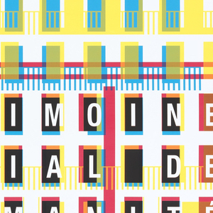 """Poster depicting the buildings of the Le Havre in blue, yellow and red.  Each letter in the words """"Le Havre"""" and """"Patrimoine mondial de l'humanité is arranged to correspond to windows in the buildings."""