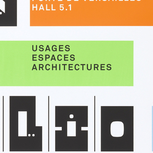 """Poster featuring the text """"des bibliothéques a vivre"""" in graphic white and black letterforms.  Neon green, orange, blue and gray rectangles contain additional white and black text with the details of the conference."""