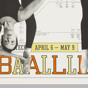 On a white ground of typographic diagrams, four images of a female dancer on Pointe in a black leotard. Across the poster is yellow text that reads: FELD BALLET TECH. In lower margin: APRIL 6 – MAY 9 JOYCECHARGE: 212-242-0800 JOYCE The Joyce Theater / BBAALLLLEETTTTEECCHH.