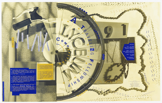 Bicycle chain frames the information about the competition, which is shown to be on cardboard with different graphics, including a bicycle tire and handlebars. Text in blue: A TRAVELING FELLOWSHIP / COMPETITION / [in yellow text:] in architecture / LYCEUM. Small blocks of text describing details in yellow, blue, and white.