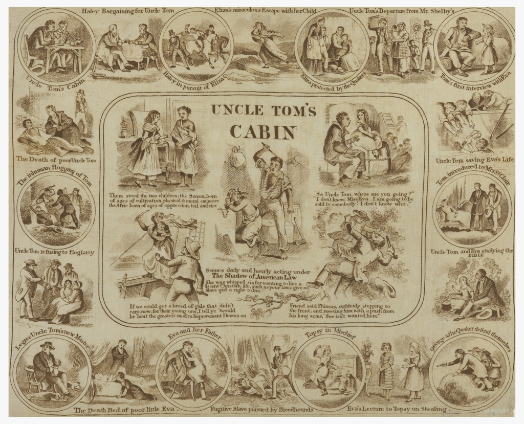 Rectangular handkerchief showing twenty-five scenes from the novel Uncle Tom's Cabin, by Harriet Beecher Stowe, printed in brown on white.