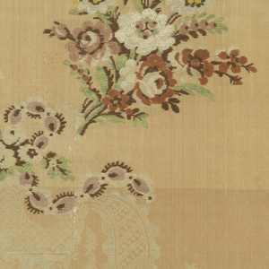 Length of thin orange taffeta brocaded with typical Louis XV design of small bouquets in yellow, pale blue, pink, brown, green and white arranged with curving twisted lace ribbons brocaded in white silk floss.