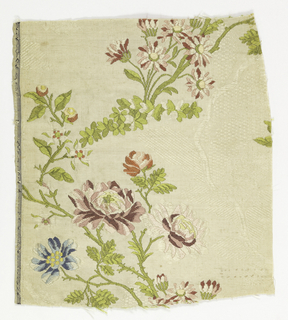 Fragment of horizontally ribbed, self-patterned with curving checkered leaves and brocaded with typical Louis XV trimming sprays of flowers in greens, blues, mauves, pinks, white and yellow.