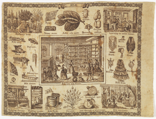 Promotional handkerchief printed with several steps in the process of producing silk.  Hemmed on three sides.