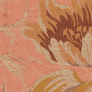 a. pink ground with floral motif b. dark red ground with floral motif c. rust color ground with floral motif