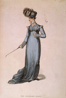 A woman dressed in blue empire waist dress and a plumed checkered bonnet.