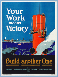 "Image of men standing on planks on pullies working on a ship's smoke stacks.  They are working within  a ship yard surrounded with American Fleets in the background.  On upper right in text ""Your Work means Victory"".  Bottom center ""Build Another One/ United State Shipping Board Emergency Fleet Corporation""."