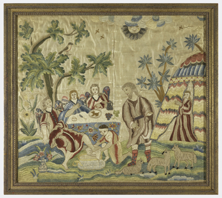 Illustrating a biblical subject, the visit of the three angels to Abraham.  A servant of Abraham is washing the feet of one of the guests; two others are seated at a table that has been prepared under the tree.  Sarah appears in the door of her tent.