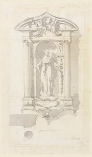 Sculptural female figure in a niche. Scale in lower right.