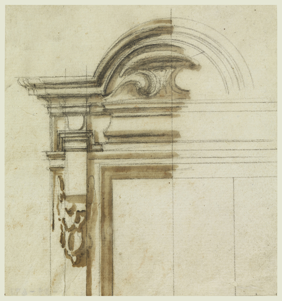 Upper cornices form a circular pediment in the width of the window frame. The console supporting the entablature ends below with a mask.
