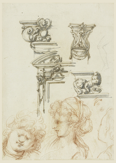 Top left: elevation of upper left corner of a building; part of a window pane, above which two friezes and cornices rise. A drapery festoon decorates the lower part with grotesque motif. Top right: a capital for a pilaster with masks forming the capital; a part of left leg of a seated man. Center right: left side of a frieze with a tiara over a shell flanked by cherubim. Bottom: three heads of women; left one is lowered, the central one is turned in toward left; right is shown in bust profile.