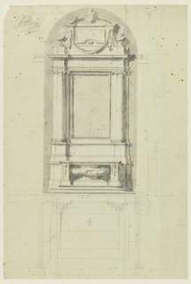 Design for an altar with Ionic engaged columns; above garland.