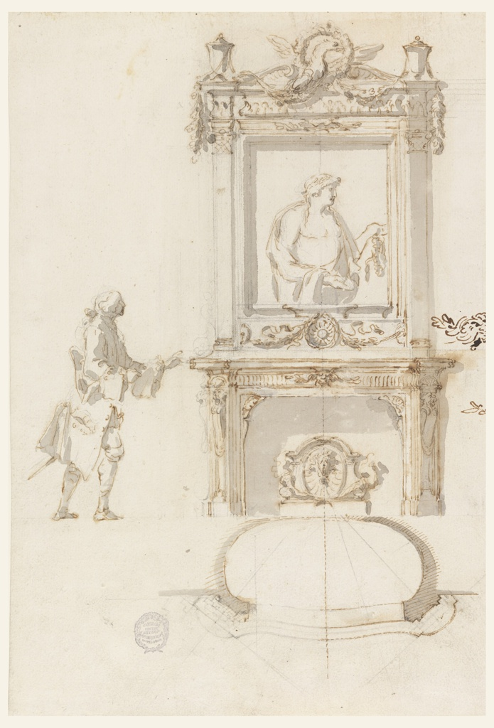 Surmounted by a central eagle, floral garland, and corner vases, the overmantel, presented as an elevation, contains an antique relief of Antinous. The chimneypiece and fire screen below are decorated by garlands, rosettes, and shells. A man approaches from the left. Below is the plan of the mantelpiece and fireplace.