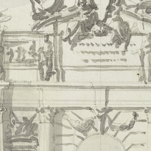 In the shape of a triumphal arch, with a single high and narrow opening in the center part. Below is a dado, above the entablature is an attic. The wall in the center part is treated like rustic work. The entablature is supported on either side, near the corners, by two columns, inside by one only. In the lateral panels is a niche with a standing female figure, and a circular pediment above, above which is a trophy. Projecting pillar strips correspond at the attic to the columns. Figures stand in front of them. A relief is in the panel of the lateral parts; an inscription in that of the central part. It has a circular pediment, and tow figures sitting with an escutcheon. The left part is the plan and at right the scale.