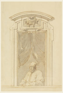 Large bearded man with feathered hat seated on a balcony before and curtained, open portal. The upper entablature is circularly curved. In the upper part of the window opening are window curtains. The Turk is sitting and leaning his left forearm upon the parapet. He wears a cap with a feather. The moldings forming the lower part of the window frame are drawing to the lateral edges.