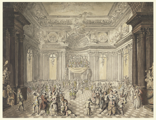 Crowd in formal dress in highly ornate hall.  Musicians on a loft over the door in the center rear.