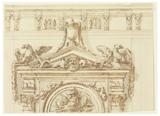 Architectural study of arch topped with pediment. A semicircle is inscribed into an oblong, consisting of mouldings with a trophy of weapons inside. Dolphins lie upon the mouldings in the wedges. Laterally are the capitals of two embedded Corinthian columns supporting the entablature. Above is a stylized pediment with a mask between dolphins. The latter are intertwined with festoons hanging from two eagles standing above the corners of the pediment. The eagles' wings are displayed, the inner ones elevated, the outer inverted. Upon the point of the pediment stands an urn with garlands dragging from the handles. Its upper part is partially in front of an entablature that spreads across the upper portion of the picture and is divided into panels by consoles featuring ram's heads. The panels on the sides of the urn are decorated with a relief featuring two women standing beside a candelabra.