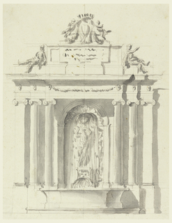 Design for a fountain with three columns on each side; sculptural figures above entablature.