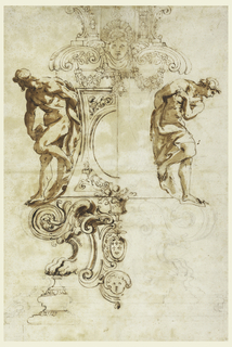 Recto: Drawing in three registers. Upper register, garlands are suspended from a large mask which is flanked by open scrolls; central register, two male nudes (slave figures in the style of Michelangelo) rest neatly within each curving concave side of the base flanking a framed central oval medalion; lower register, volutes and lion paws with the Farnese crest at center. The left half of the sheet is more finished.    Verso: Figures in a tondo. Left foreground, the Madonna is shown seated supporting the dead Christ in her lap;  right foreground,  the Madgalene kneels beside the Madonna behind which an unidentified figure stands. Left background, the Cross is faintly suggested. Upper edge of tondo, angels heads.