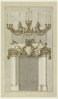 Portal surmounted with balcony, six figures within.  Lit candelabra with lions tops garlanded columns of balcony.